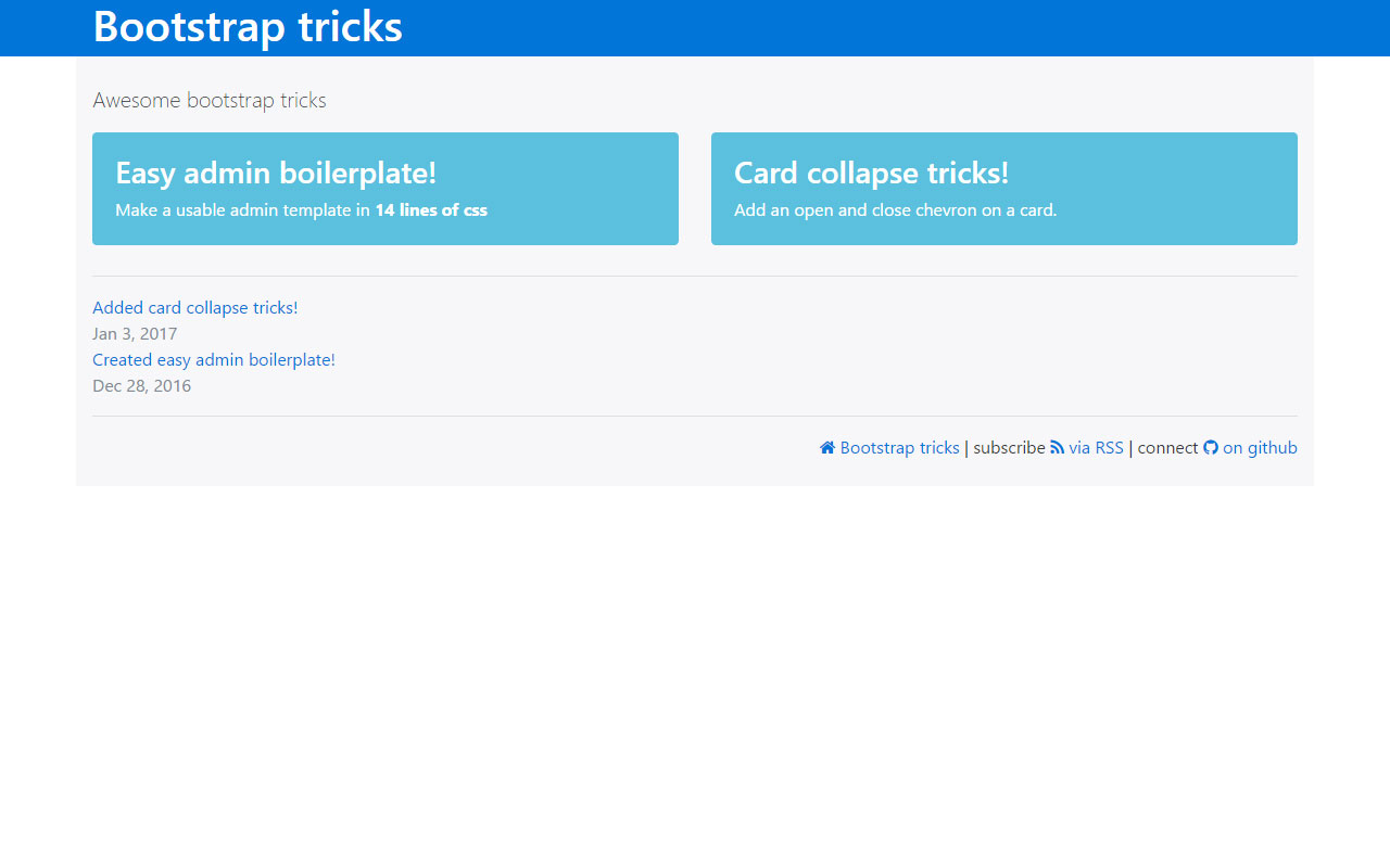 View of the bootstrap tricks website